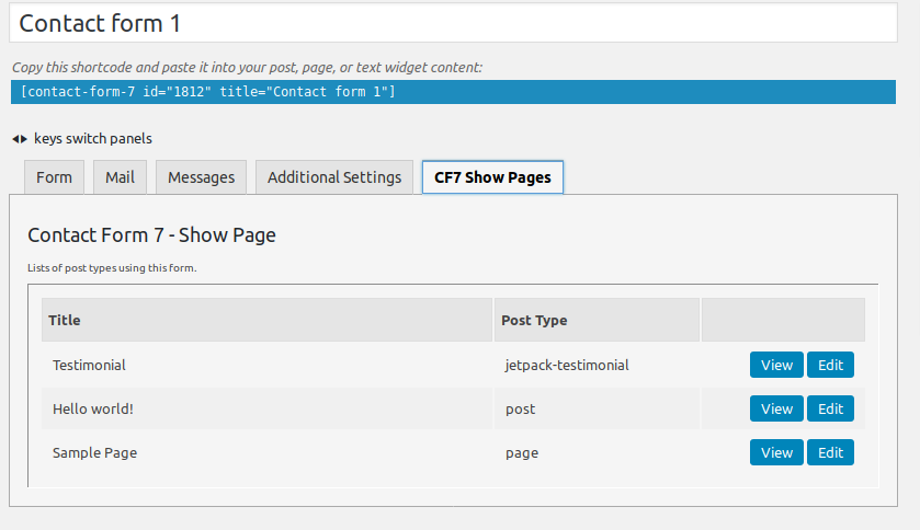 Contact Form 7 – Show Page